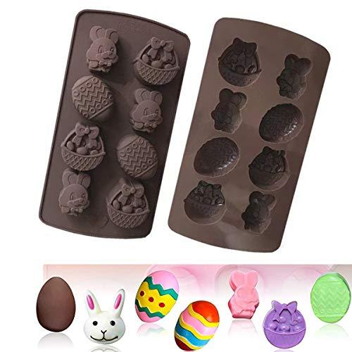 Uovo di Pasqua Cesto di Coniglio Forma Torta Cioccolato Caramelle Stampo Set Stampo Silicone Cioccolato Caramelle Biscotti Stampi da Forno Anti-Aderente per Sapone Dolci(2 Pezzi )