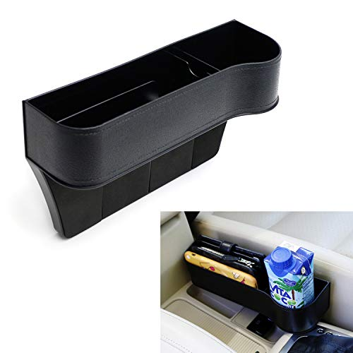iJDMTOY (1) Black PVC Console Side Pocket Organizer, Car Seat Catcher w/Cup Holder Compatible With Drinks, Key, Wallet, Phone, Sunglasses, etc
