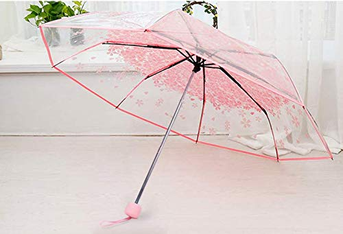 Paraguas para mujer, transparente, con forma de flor de cerezo y seta Sakura, paraguas plegable completamente automático, color rosa