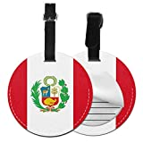 Bandera de Perú de Cuero Personalizado de Lujo Maleta Etiqueta Set de Accesorios de Viaje Redondo Etiquetas de Equipaje