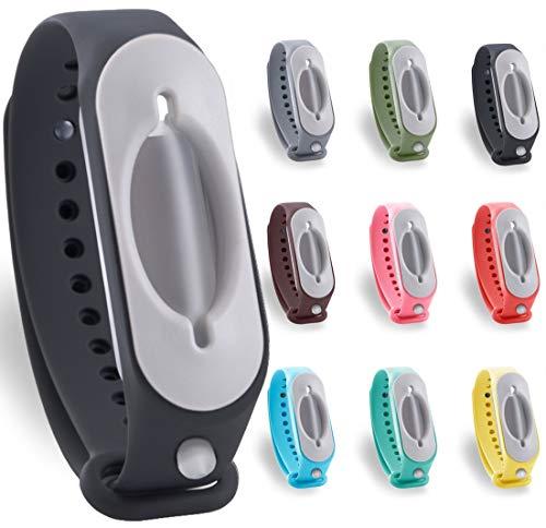 2.0 Desinfektionsarmband Hygienearmband Handspender Desinfektionsarmbänder für unterwegs - Schule Sport Busse Bahn Einkaufen Arbeit (Schwarz)