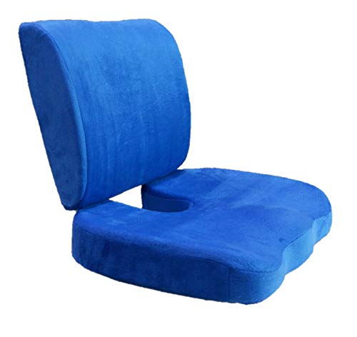 BookishBunny Set of 2: Seat Cushion Coccyx Orthopedic Memory Foam Lumbar Support Pillow - Bookishbunny - Best Premium Cushions for Sciatica Pain Relief and Lower Back Pain Relief - Blue