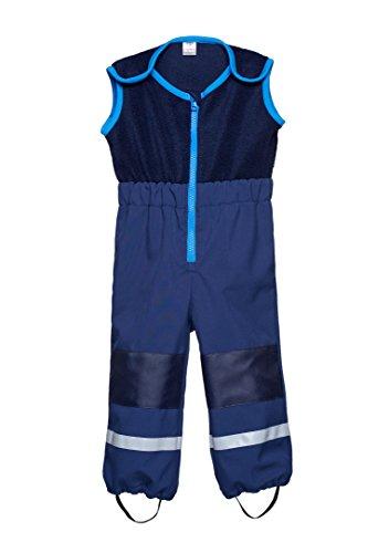 be baby! Softshell-Matschhose Cargo mit Fleece Weste/Fleece Latz für Kleinkinder (Wassersäule: 10.000 mm), dunkelblau, Gr. 110-116