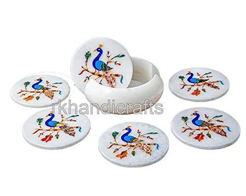 Semi Precious Stones Inlay Tea Coaster