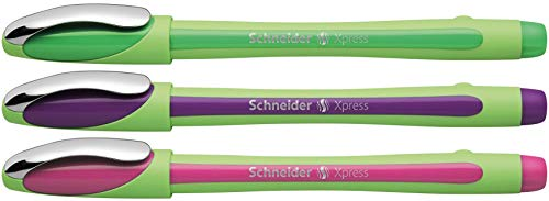 Schneider Xpress Fine Liner 0.8 mm Porous Point Pen 3-Pack, Green/Purple/Pink (190095)