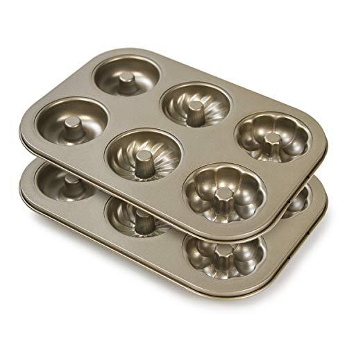 SuperMa Donut Baking Pans 2 Pack, Non-stick Doughnut Cake Mold 6-Cavity, Carbon Steel Doughnut Bakeware for Baking, Golden