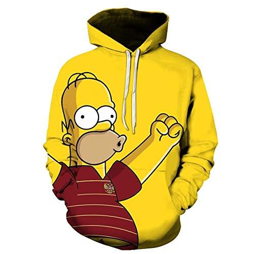 MSWLM 3D Realistisch Druck The Simpsons Unisex Herren Damen Hoodie Cosplay Kapuzenpullover Bunt Langarm Pullover Coole Sweatshirt mit Drawstring Taschen XXL