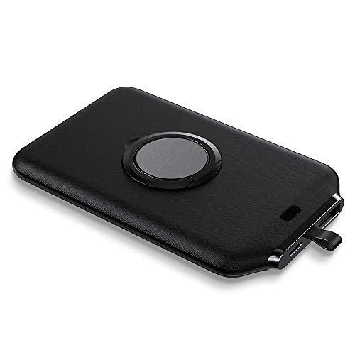 Ashtray Anillo Portable del Banco 4000Mah magnéticas sin Hilos Mini Cargador de energía el Powerbank Soporte Universal de batería Externa para iPhone 12,Negro