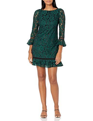 Eliza J Women's Bell Sleeve LACE Shift Dress Cocktail, Green, 10