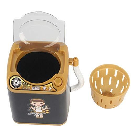 LSUTR Makeup Sponge Mini Washing Machine, Mini Makeup Brush Cleaner Device Plastic Electric Automatic Washing Machine for Sponge and Powder Puff Toy (Black)