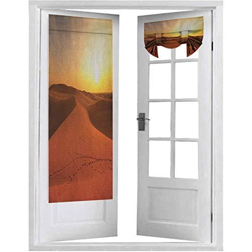 French Doors - Cortinas con diseño de dunas de arena al amanecer Hot Dubai Landscape Travel Destination, 2 paneles, 66 x 172 cm, color naranja oscuro y amarillo
