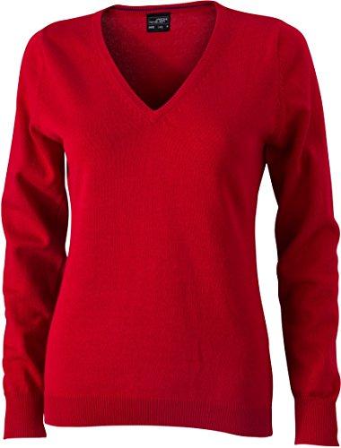 Ladies' V-Neck Pullover - taillierter Damen V-Neck Pullover M,Red