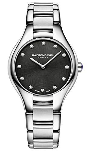 Reloj de Cuarzo Raymond Weil Noemia Ladies, Negro, 12 Diamantes, 5132-ST-20081