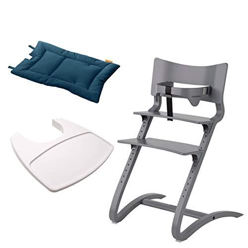 Leander Stuhl grau lackiert - Hochstuhl - Kinderstuhl - Erwachsenenstuhl mit Babybügel + Tablett weiß + Kissen dark blue