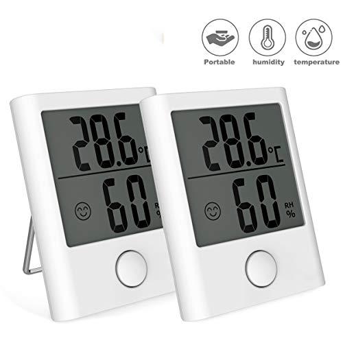 BACKTURE Termómetro Interior, 2 Pieza Mini Termómetro Higrómetro Digital con Imán, Termohigrómetro Profesional con Pantalla de Confort para Medición de Temperatura y Humedad del Casa Ambiente (blanco)