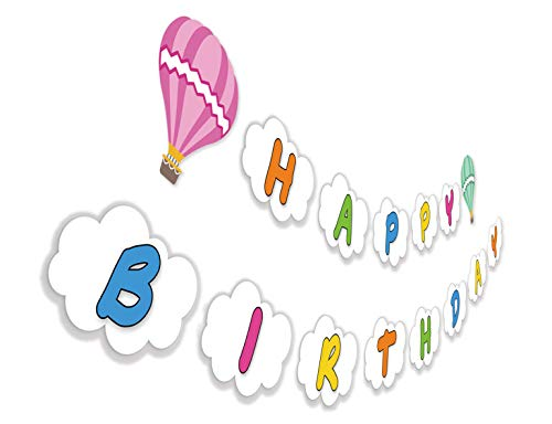 Hot Air Balloon Birthday Banner, Fly Above Clouds Happy Birthday Sign for Baby Kids Son Daughter