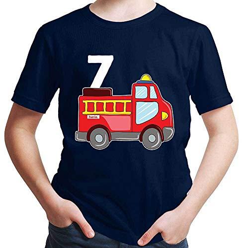 Hariz - Camiseta para niño con diseño de coche de bomberos, incluye tarjeta de regalo Azul marino 8 años