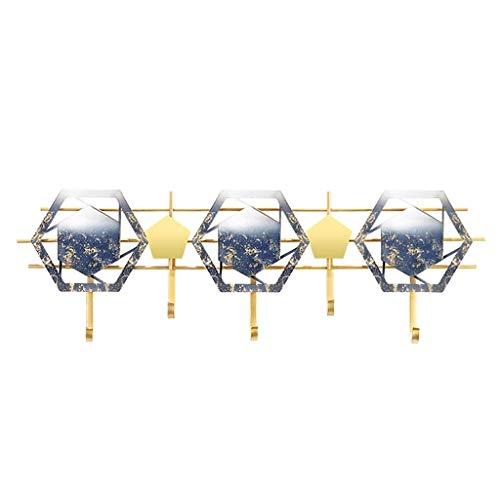 TIANYOU Abrigo Rack Moda Capa Creativa Gancho Moderno Dormitorio Pared Colgante Abrigo Perchero Pared Porche Estante Puerta Decoración Gancho fuerte y robusto/Gold+blue / 72 * 25cm