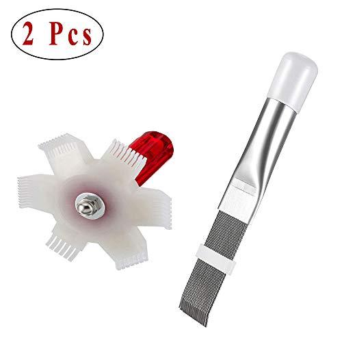 Ritte 2 Stück Klimaanlagen Lamellenkamm, Lamellenglätter, AC Lamellenkamm, 2 Arten AC Amellenkamm Reinigungsbürste zur Reinigung von Kühler und Verdampfer