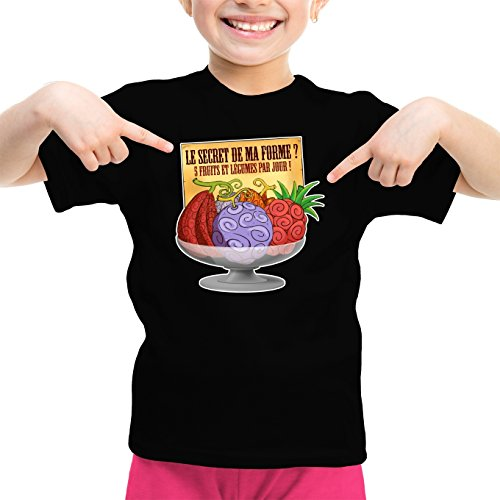 T-Shirt Enfant Fille Noir One Piece parodique Fruit du Démon : Le Secret de la Forme des Pirates de Grand Line ! (Parodie One Piece)