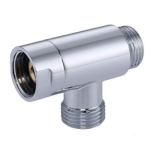 "100% Metal G 1/2"" 3 Way Diverter | Hose Fitting Tee | T Shape Adapter Connector for Angle Valve Hose | Bath Shower Arm | Toilet Bidet Sprayer Faucet (Chrome)"