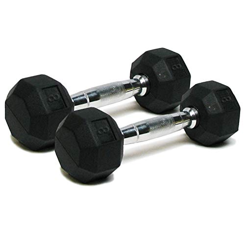 Dumbbells Hand Weights Set of 2 - 8 lb Rubber Hex Chrome Handle Exercise & Fitness Dumbbell for Home...