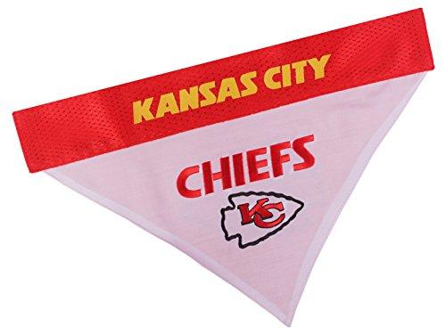Pets First NFL DOG BANDANA - KANSAS CITY CHIEFS REVERSIBLE PET BANDANA. 2 Sided Sports Bandana with a PREMIUM Embroidery TEAM LOGO, Large/X-Large. - 2 Sizes & 32 NFL Teams available, KCC-3217-L-XL