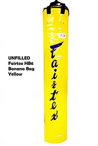 Fairtex HB6-183 cm Muay Thai Banana Boxsack gelb schwerer Boxsack für Kickboxen MMA K1, gelb