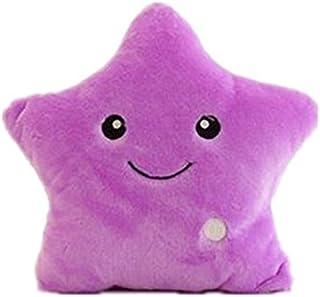 VORCOOL Creativa Estrella Brillante Almohada de Peluche cojín de Felpa Throw Pillow LED Estrella de luz Niños Dormitorio Almohadas Decorativas (púrpura)