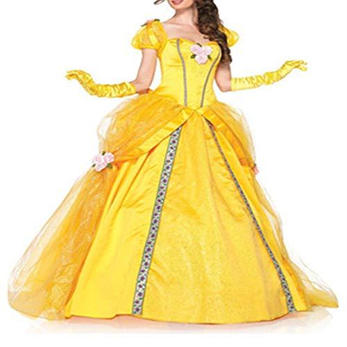DiscountL vestido de princesa Cenicienta dorada, disfraz de cuento de hadas para adultos, uniforme de Halloween, Otoo-Invierno, vestido, Manga Larga, Mujer, color Vestido dorado + guantes, tamao M