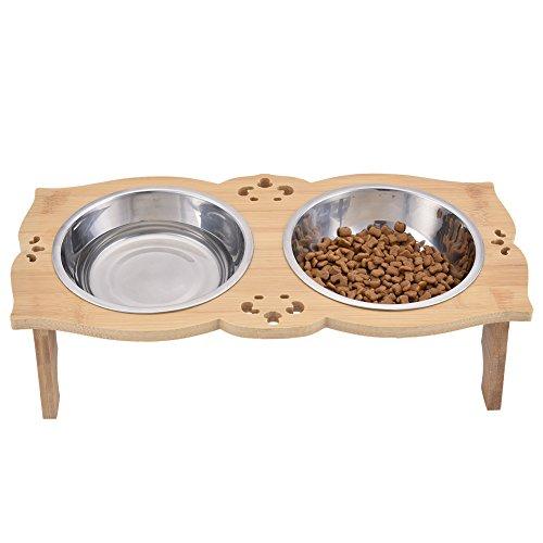 Yunt Pet Gamelle double Diner Chien Chat Mangeoire en bois massif Table rectangulaire en relief avec support en acier inoxydable double bols