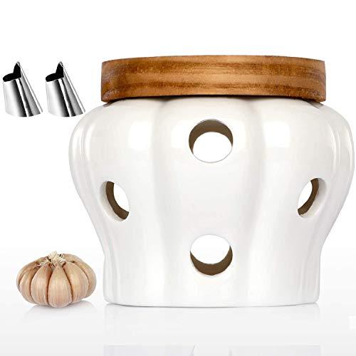 Allprettyall Garlic Keeper Vented Ceramic Garlic Storage Container White Stoneware with Acacia Wood Lid