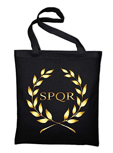 Styletex23 SPQR Rom Wappen Banner Logo Jutebeutel Baumwolltasche, schwarz