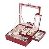 Boîte à Bijoux Basuwell® avec Miroir Grand Organiseur à Bijoux Mallette/ Coffrets/ Boîte à Maquillage Anneaux de Boucles d'oreilles Collier Bracelets de Bijoux Boîte de Rangement Rouge