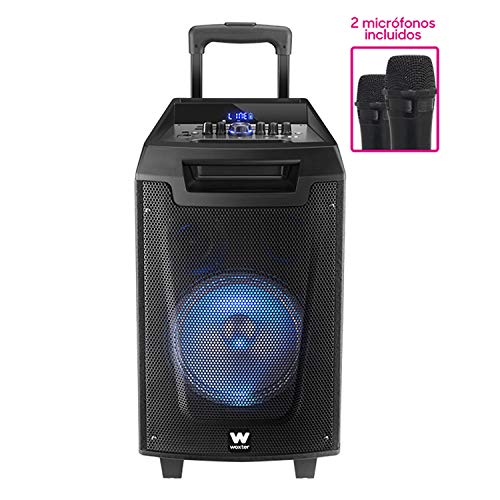 Woxter Rock'n'Roller - Altavoz trolley con función karaoke, Potencia de 80W, Display Led, Bluetooth, Lector SD/USB, AUX, Prioridad Mic, Mando a distancia, Batería de alta capacidad y 2 micrófonos inalámbricos