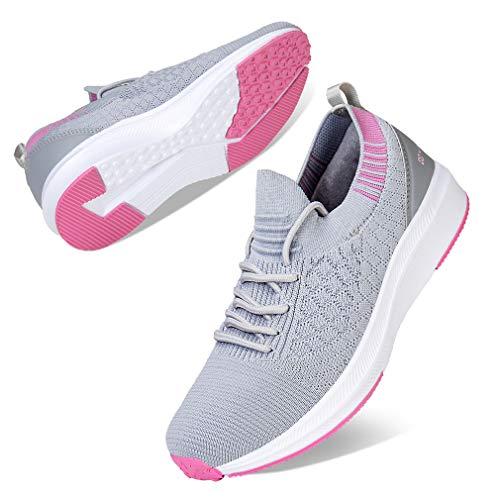 Kyopp Damen Turnschuhe Atmungsaktiv Leichte Laufschuhe Sportschuhe Sneaker für Fitness Gym Outdoor Walkingschuhe Freizeitschuhe(1 Hellgrau 39EU)