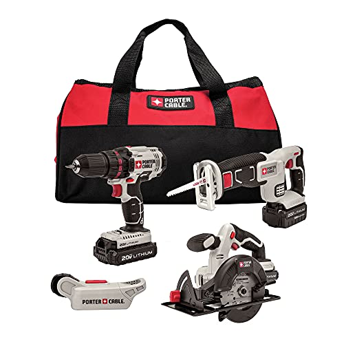 PORTER-CABLE Cordless Drill Combo Kit Power Tool, 4-Tool...