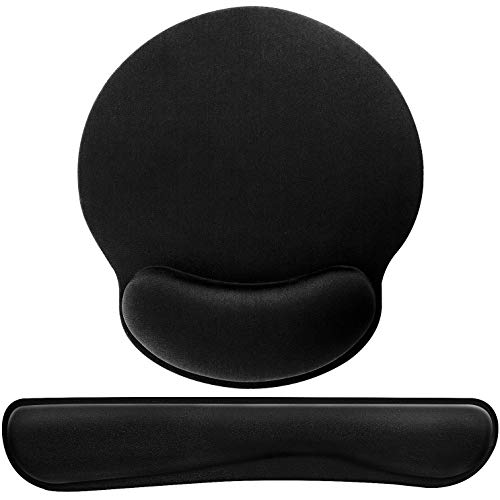Mouse Pad with Wrist Support Ergonomic Gel,Black Keyboard Wrist Rest for Computer Keyboard with Raised Memory Foam for Desktop/Laptop/Notebook