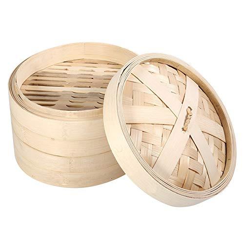 Fdit 4 Größen 2 Ebenen Bambus Dampf Korb für Reis chinesischen natur Kochen Herd mit Gemüse Meeresfrüchte, 22 x 15 cm/8,7 x 5,9 pouces