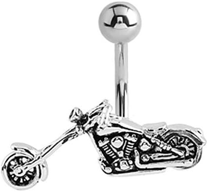 Steel Chopper Motorcycle Biker Belly Button Navel Ring Piercing bar Body Jewelry 14g