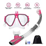 Ufanore Snorkel Set New Version 2.0, Snorkeling Gear, 180° Panoramic View, Free Breathing, Anti-Fog and Anti-Leak Diving mask Set with Detachable Camera Mount, Easy to Adjust