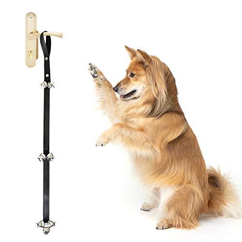 Lubsmuns Timbre para perro, ajustable de nailon de alta calidad, 7 cascabeles extra ruidosos para entrenamiento de orinales y casas, entrenar a tu cachorro fácilmente (1 pieza, negro)