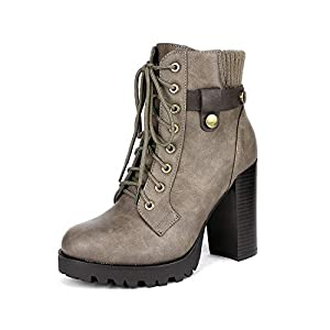 DREAM PAIRS Mujer Botines de Tacón Alto Plataforma Invierno Moda Zapatos con Cordones Cremallera | DeHippies.com