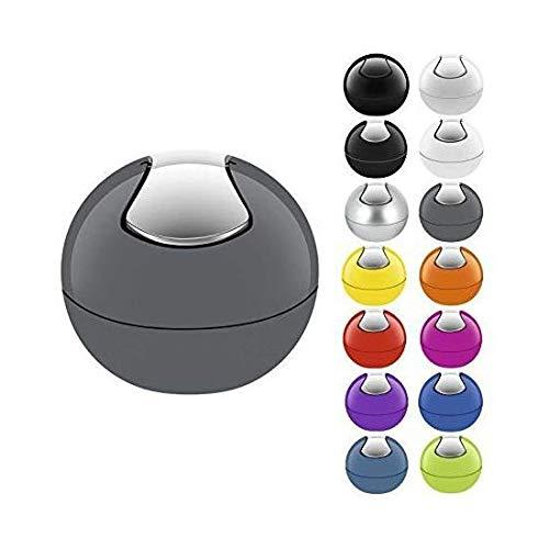 Spirella Bowl Cestino gettacarte da Tavolo - Eccellente per la cameretta, L'Ufficio, Il Bagno e la Cucina - Nero - capacità 1 L - plastica Resistente - con Coperchio - Grigio