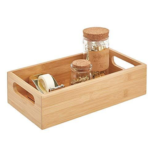 mDesign Caja de bambú con asas – Práctica cesta guardatodo abierta para útiles de oficina – Cajón organizador de escritorio de madera para bolígrafos y otros elementos – color natural