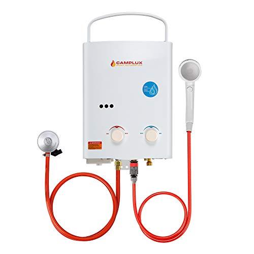 Camplux AY132N 5L calentador de agua portátil de gas, ducha al aire libre para camping, RV, lavado de caballos