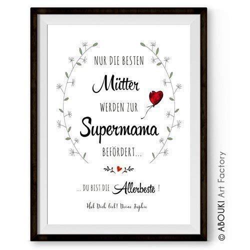 Nur die besten Mütter werden zur Supermama befördert ABOUKI Kunstdruck - ungerahmt - personalisierte Geschenk-Idee Muttertag Geburtstag Weihnachten für Familie Eltern Oma Opa Papa Mama