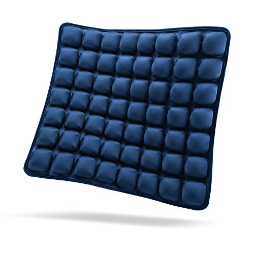 "SUNFICON Inflatable Seat Cushion Air Seat Cushion Portable Car Seat Office Chair Wheelchair Pad Anti Bedsore Orthopedics Pain Pressure Relief Cushion Camping Seat Mat w Pump 18""x16"" Blue"