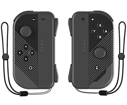 JoyCon(L/R) Controller Replacement for Nintendo Switch/Switch Lite,Cenxaki Joy Con Controllers with Wrist Strap - Black/Black