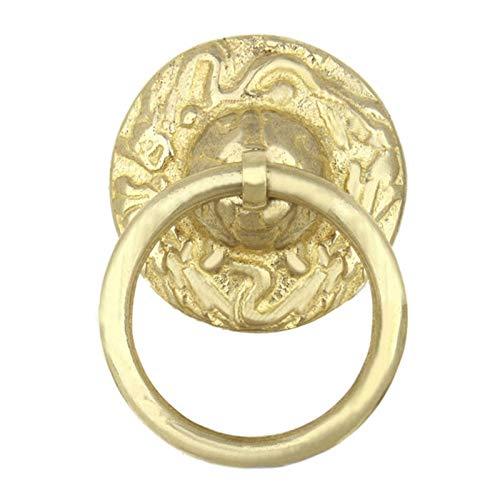 Aldaba para Puerta Archaize Bronce del diseño del dragón Aldaba la manija de Puerta clásica Tire platillo Anillo Ruyi Gabinete Ronda 42 (Color : Yellow)